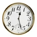Rhythm Plastic Wall Clock Gold White Arabic Dial w Thermometer